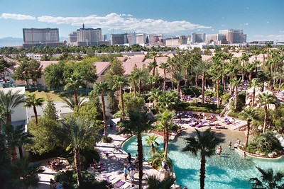View of the strip and the guitar shaped pool of the Hard Rock Hotel