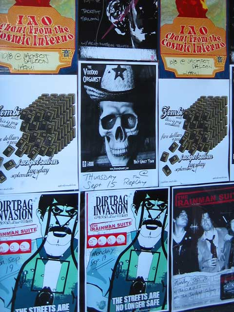 """I thought these flyers were interesting...<br /> I have no idea what they are about though.<br /> The one that says """"Dirtbag Invasion"""" makes me want to go wash my hands."""