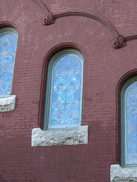 The trio of stained glass windows on the north wall of the museum<br /> (taken from the Japanese Friendship Garden).<br /> I photoshopped this a bit-- but not much.