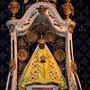 La Vierge Noire  <br /> Le Puy en Velay - Haute Loire - France<br /> <br /> La statue du XVIIe siècle qui se trouve actuellement sur le maître-autel provient de l'ancienne chapelle Saint-Maurice du Refuge. Elle fut couronnée par l'évêque du Puy au nom du Pape Pie IX, le 8 juin 1856, jour anniversaire de la destruction de la précédente effigie, qui fut brûlée par les ultra-révolutionnaires de Louis Guyardin (le représentant de la Convention en mission en Haute-Loire) le 8 juin 1794, jour de Pentecôte, devenu celui de l'Être Suprême.<br /> La Vierge noire, reposant sur le maître-autel.<br /> <br /> Au Xe siècle, le concile du Puy avait autorisé pour la première fois les reliquaires en ronde-bosse à l'image humaine, d'où la floraison des statues dites « chefs » et des Vierges en majesté, d'abord dans le centre de la France, puis dans tout le pays. La Vierge noire du Puy a pu contenir des reliques, étant la plus ancienne connue ; il est tout à fait possible qu'elle ait servi de modèle aux autres.<br /> <br /> Il ne reste aucune trace de l'image de la Vierge vénérée dans la cathédrale avant la fin du Xe siècle, sinon quelques représentations hypothétiques. À cette époque, elle aurait été remplacée par celle offerte par le roi Louis IX ou Saint-Louis au retour de la septième croisade ; il est attesté que Saint-Louis est venu en pèlerinage au Puy-Sainte-Marie (podium sanctae mariae) en 1254.<br /> <br /> Faujas de Saint-Fond a pu l'étudier à loisir, il en laissa, en 1777, une description et un dessin certainement très fidèles.<br /> <br /> Il s'agissait d'une statue en cèdre représentant la Vierge assise sur un trône, l'Enfant Jésus sur les genoux. Si les visages de la Mère et de L'Enfant étaient d'un noir foncé, les mains, en revanche, étaient peintes en blanc. Sur le visage de Marie se détachaient des yeux en verre et un nez démesuré. La Vierge était vêtue d'une robe de style oriental dans les tons rouge, bleu-vert et ocre et était couronnée d'une sorte de casque à oreil