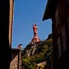 Le Puy en Velay - Haute Loire - France<br /> Le Rocher Corneille est surmonté d'une statue de la Vierge Marie, qui mesure plus de 16 mètres et pèse 110 tonnes, peinte en rouge. Elle fut érigée en 1860 avec la fonte de 213 canons venant de la prise de Sébastopol en 1855 pendant la Guerre de Crimée et donnés par Napoléon III.