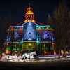 Horse Drawn Carriage at Licking County Courthouse with Christmas Lights