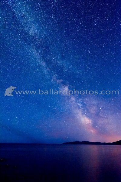The Milkyway over the St. Lawrence River at Cap des Rosiers Lighthouse, Quebec, Canada