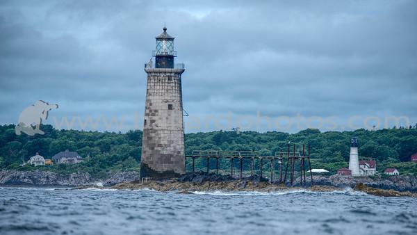 Ram Island Ledge - Portland, Maine  - In the distance, the Portland Headlight