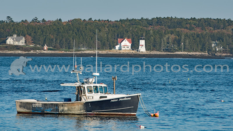 Lobster Boat Miss Melissa with Hendricks Head Lighthouse, photographed from Five Islands Georgetown, Maine