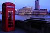 Phone box on the Thames Embankment at dusk