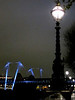 London embankment lights in the rain