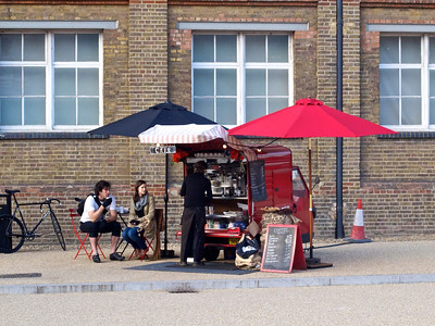 Mobile café next to St Pancras railway station