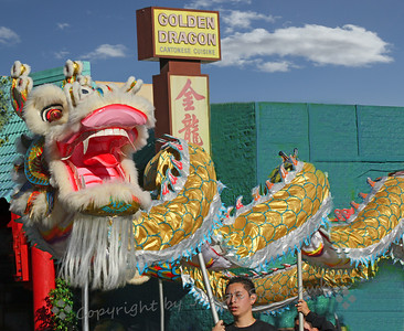 Golden Dragon by the Golden Dragon ~ I loved the coincidence that brought me across from the Golden Dragon Restaurant just when this New Years golden dragon came by in the parade.  Being year of the dragon, there were several dragons in the parade.  This was one of my favorites.