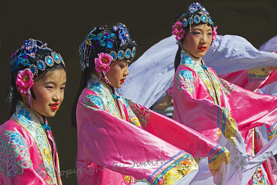 Dancers Three ~ These dancers were three of a group of Chinese dancers in the Lunar Parade in Chinatown, Los Angeles.
