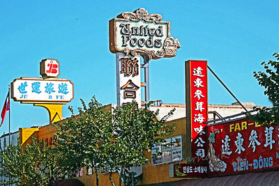 "Signs of Chinatown ~ These are just a few of the building signs I noted as I walked along Broadway Avenue, the ""main street"" of LA's Chinatown."