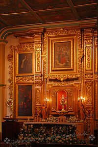 Church Sanctuary ~ This is the beautiful interior of the church sanctuary at Olvera Street. The church is named Nuestra Senora Reina de Los Angeles, or Our Lady Queen of Angels Church.  Although historic, it is an active church with regular masses and other church activities