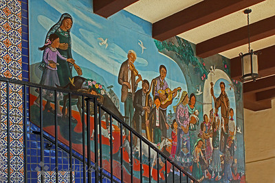 Blessing of the Animals ~ This view shows part of the mural of Blessing the Animals, on one of the Olvera Street buildings.