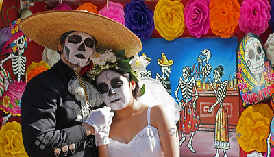 Day of the Dead Bride and Groom ~ This is a composite of the bride and groom couple in one of the musical performances at the pavillion at Olvera Street, plus a decorative mural at one of the shops.
