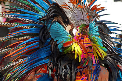 Aztec Dancer with Mask ~ This dancer wore an elaborate headdress that included a mask.