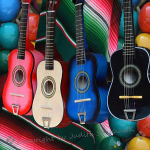 Guitars 1-2-3-4 ~ Another version of the brightly colored guitar displays on Olvera Street.  The market is a feast of colors and shapes, overlaid by the aroma of Mexican food being served nearby.