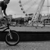 Piccadilly Gardens big wheel and BMX rider