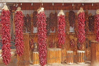 The Ristra Shop ~ This shop was filled with ristras--strings of dried chiles--of all sizes.  The largest were close to 6 feet long.  They are purchased for decorative and practical purposes, intended to be used pepper by pepper, in preparing those delicious spicy dishes.