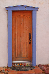 Mesilla Door ~ I liked the decorative tiles on the doorstep, and the periwinkle blue door frame.