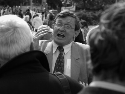 Participant at a political debate in front of the shipyard in Gdansk. Photo: Martin Bager.