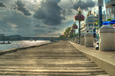 Washington Harbor boardwalk in HDR
