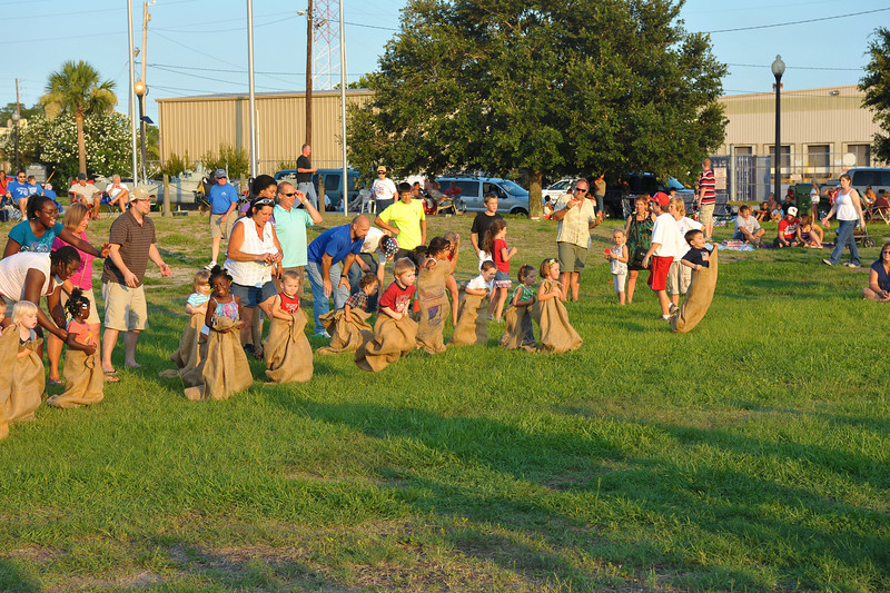Potato Sack Race at Mary Ross Waterfront Park in Brunswick, Georgia 07-04-11