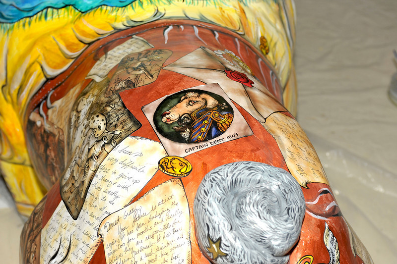 """Ed Hose exhibit at Gallery 209 in downtown Brunswick, Georgia - includes Friends of Hofwyl-Broadfield Plantation Humane Society Fundraiser """"Dawg"""" being painted by Ed Hose"""