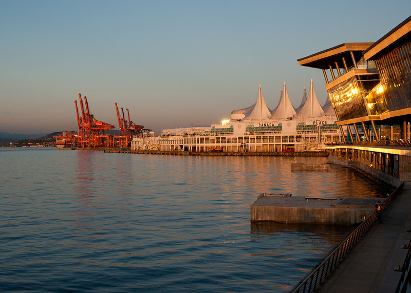 Container port, Canada Place, and the new Vancouver Convention Centre, May 2010.