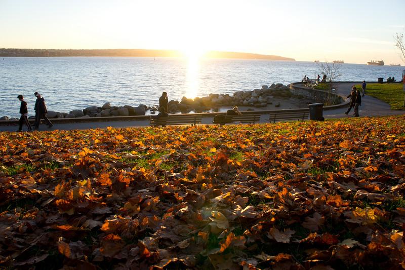 Sunset at English Bay on a beautiful fall day.