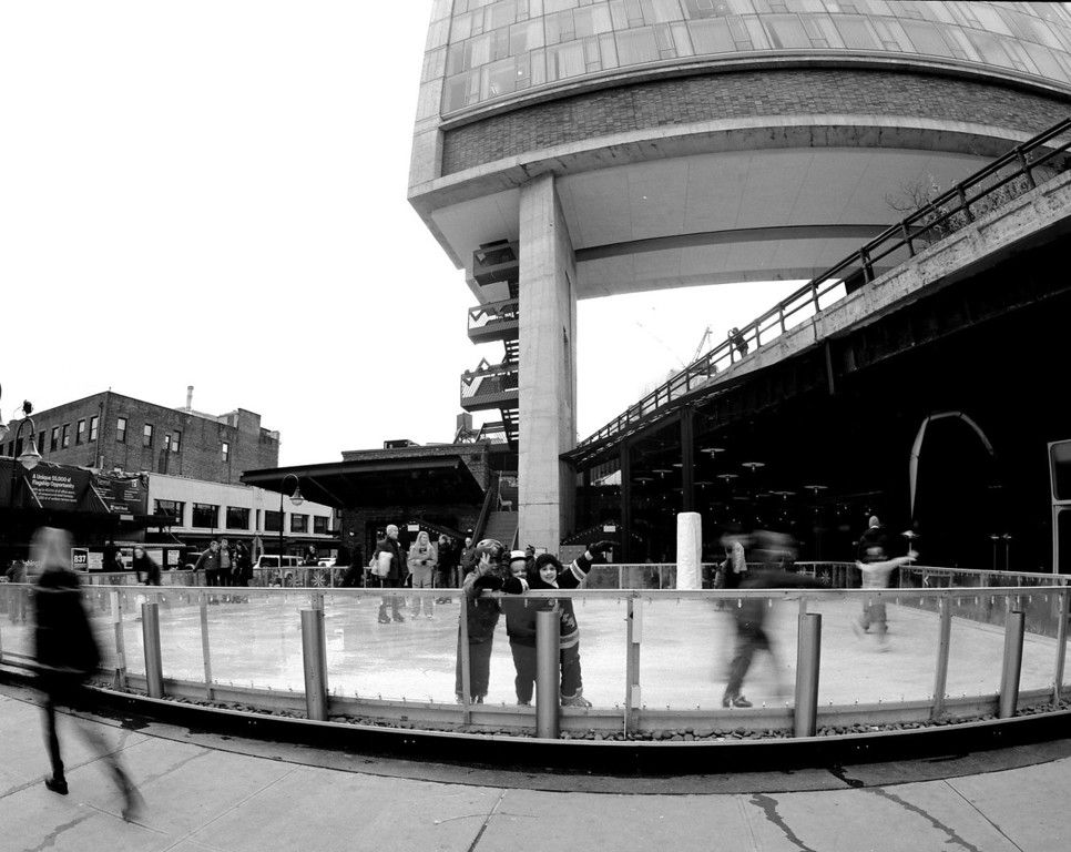 Young hockey players at skating rink under the Highline.  Chelsea.  New York City,