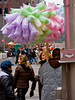 Visually appealing sugar on a stick.....cotton candy.