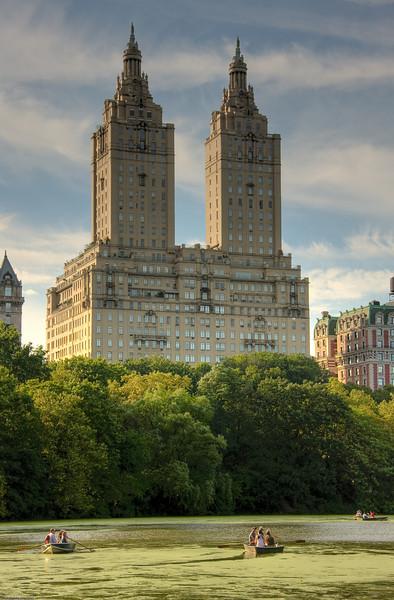 Inviting green lake in Central Park