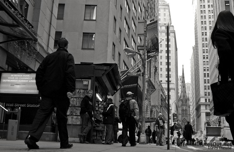 """I was experimenting with shooting from a """"dog's eye"""" point of view after seeing a dog walk by and wondering what NYC looked like to him.  Of all of the shots, this is the only one I liked.  I'm still worried that the blown out sky is very distracting."""
