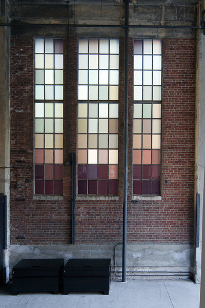 Artistic windows into an old meat-packing plant along the High Line.
