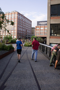 In a few spots, the rails have been left in place to remind visitors of the High Line's railroad past.