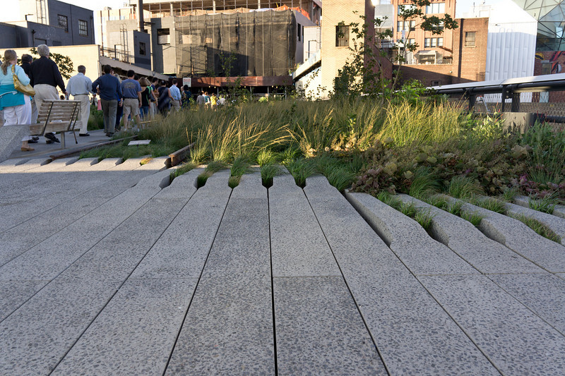 Close-up of the pavement detail, which evokes the 'overgrown' nature of the High Line before it was turned into a park.