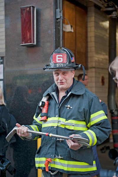 "This fireman should have been a comedian, he was very funny.  Here he was showing us what fireman call a ""key"", he said it will get you in any door."