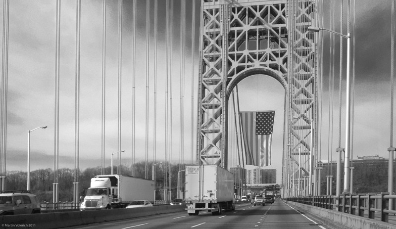 Martin Luther King Day 2012 - Flying the Stars & Stripes over the George Washington Bridge.