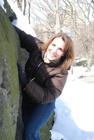 Linda rock climbing in Central Park