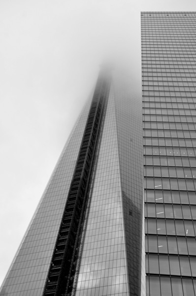 014  New York - Ground Zero, foggy skyscraper
