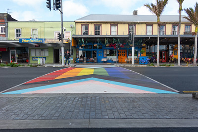 nique city area of diversity and rainbow styles pedestrian crossing