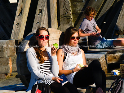 Girls sit enjoying sun, eating an apple, in Wellington, New Zealand.  Model released; no, for editorial & personal use.