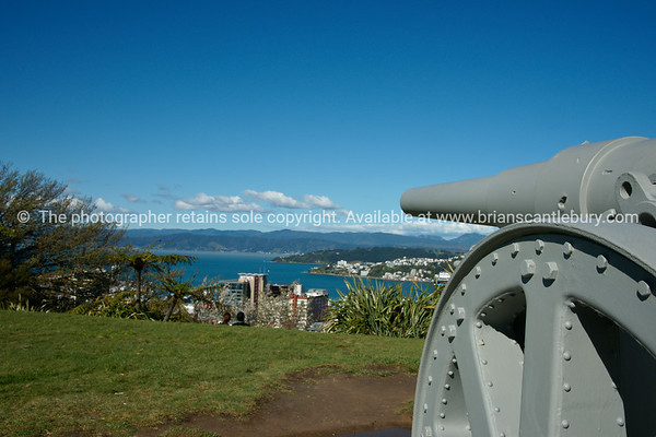 Cannon on Mt Victoria, Wellington, New Zealand.  Model released; no, for editorial & personal use.