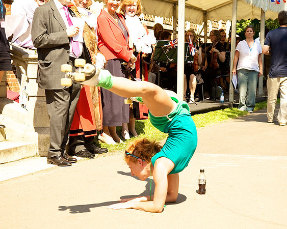 We had an acrobat (with strategically placed sponsor's drink)