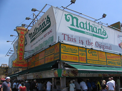 Nathan's/Coney Island - Jerry rides the subway to Coney Island with a naked fat man. They talk about the Mets.