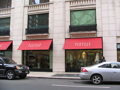 Barney's clothing store, 5th Avenue - Elaine accuses the store of using 'thin' mirrors after she looks un-flattering in a dress she bought there. Kramer sells the clothes off his back to Kenny Banja which forces him to walk home in nothing but a fur coat. In Kramer's jacket was Uma Thurman's phone number.