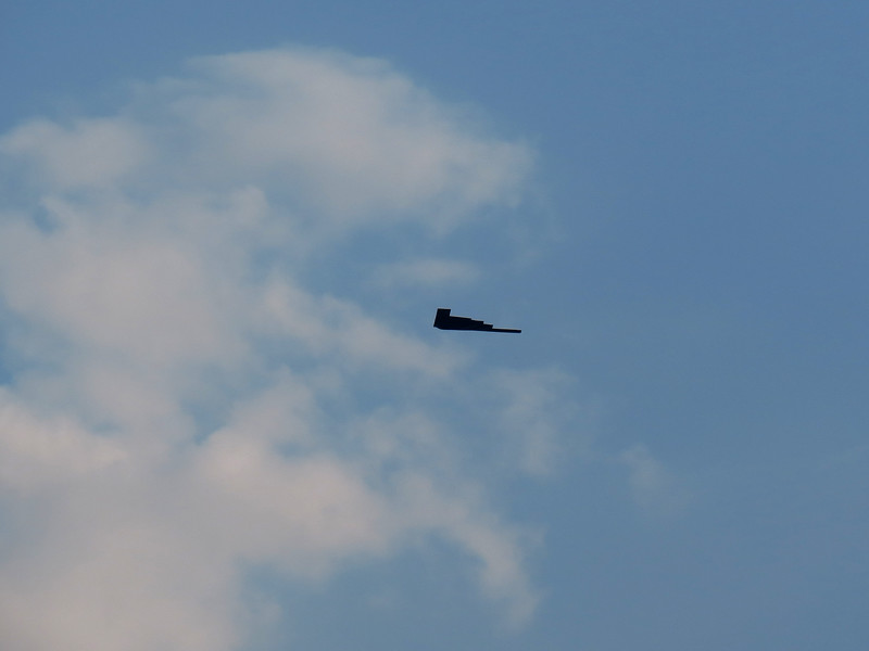 The B2 Stealth Bomber after flying over the baseball stadium for the 2012 All-Star Baseball game.