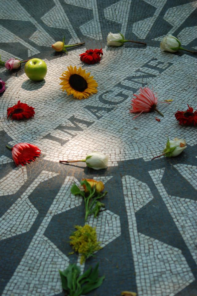 The John Lennon memorial in Central Park