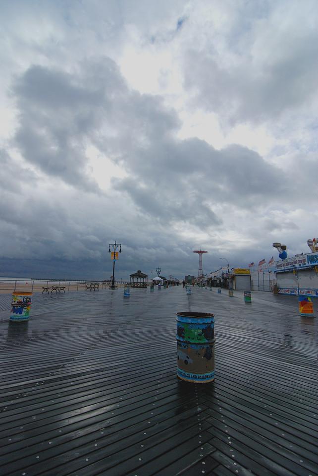 Comey Island boardwalk on a rainy day