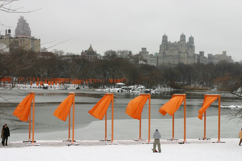 the gates in central park (with snow and ice), new york city, by christo and jeanne-claude